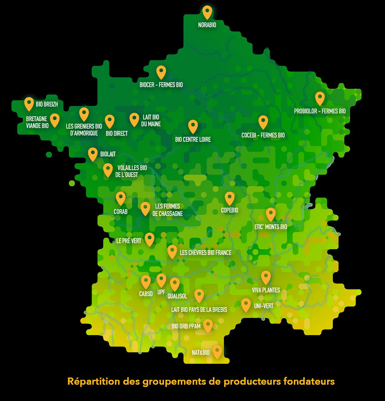 Carte de la répartition des groupements de producteurs bio et équitables en France.